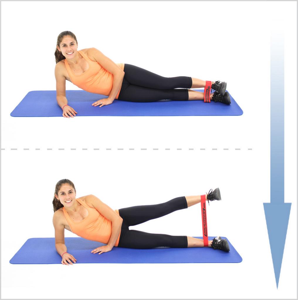 ejercicio de cadera con gomas elásticas